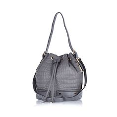 River Island grey croc quilted duffle bag
