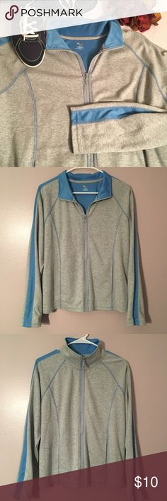 """SJB active jacket Women's SJB active athletic lightweight jacket, size L. Cotton/poly blend, light grey & blue, slit pockets. Perfect for running/walking or errands! Measures approx 24"""" long, 21"""" pit-to-pit. EUC, smoke free home! St. John's Bay Jackets & Coats"""