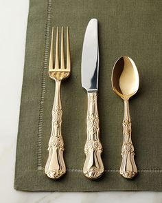 90-Piece Gold-Plated Margaux Flatware Service | Horchow | $260 ... sadly, not dishwasher safe :(