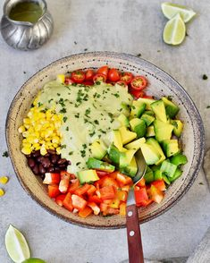 Creamy Mexican Avocado Salad which is filling but still light and perfect for lunch or as a side dish for dinner. This recipe is vegan, gluten-free, healthy, easy to make, and has an oil-free dressing. Mexican Food Recipes, Whole Food Recipes, Vegan Recipes, Dinner Salads, Dinner Dishes, Avocado Dressing, Mexican Avocado, Vegan Feta Cheese, Corn Avocado Salad