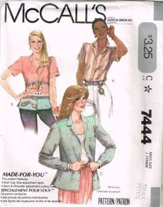 7444 Sewing Pattern Vintage McCall's Ladies Shirt Jacket Small 10-12