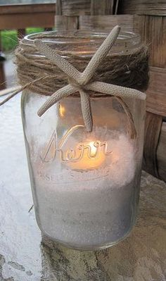 Mason Jar, Starfish, Sand and Twine