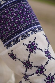 Hand Embroidered Blue and Purple Ukrainian Linen Blouse Cross Stitch Borders, Modern Cross Stitch, Cross Stitch Flowers, Cross Stitch Charts, Cross Stitch Designs, Cross Stitching, Cross Stitch Patterns, Polish Embroidery, Folk Embroidery