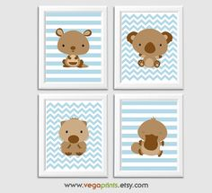 Australian animals nursery art print - UNFRAMED- baby boy wall art, wombat, kangaroo, koala, platypus, brown, blue, chevron, striped by VegaPrints on Etsy https://www.etsy.com/listing/256484442/australian-animals-nursery-art-print