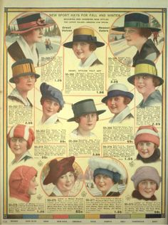 1918- Simple hats in smaller sizes than the previous years oversize picture hats, reflect the change in economy.