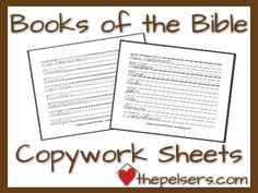 FREE Printable of the Books of the Bible in both manuscript and cursive.