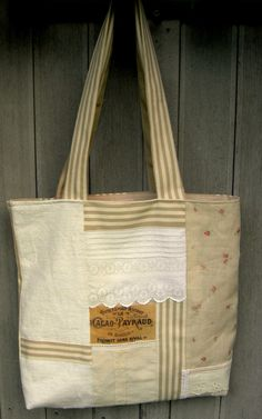 Roomy Tote Bag from several Vintage Fabrics, all in Pale Colors.  Shabby Chic. OOAK.
