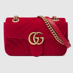 the mini gg marmont chain shoulder bag has a softly structured shape and an oversized flap closure with double g hardware. the sliding chain strap can be worn multiple ways, changing between a shoulder and a top handle bag. made in embroidered chevron vel Gucci Shoulder Bag, Chain Shoulder Bag, Shoulder Handbags, Shoulder Bags, Shoulder Strap, Burberry Handbags, Chanel Handbags, Gucci Bags, Designer Handbags