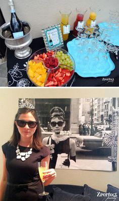 Tiffany OFF! Mimosa Bar - Breakfast at Tiffanys Bridal Shower. Subtract the liquor and this would totally be something I would do! Breakfast At Tiffany's, Breakfast Buffet, Wedding Breakfast, Breakfast Smoothies, Tiffany Theme, Tiffany Party, Tiffany Blue, Birthday Brunch, Brunch Party