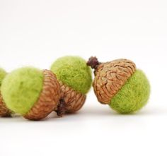 Felted Acorns lime green citrus chartreuse  decor by feltjar, $12.00