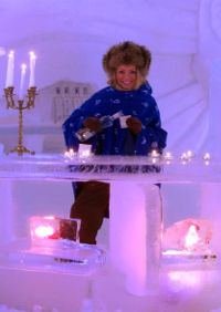 Kirkenes snow hotel with dog sled taxis in norway .