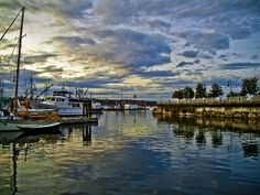 Nanaimo Harbour at Dusk. Just a 2 minute stroll from your Bijou Glamping Executive Condo base in Downtown Nanaimo. Vancouver Island, Canada Travel, British Columbia, Amazing Places, Glamping, Dusk, West Coast, Places To Travel, Places Ive Been