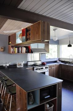 Mid Century Kitchen Renovation Design, Pictures, Remodel, Decor and Ideas - page 8 Slate Kitchen, Plywood Kitchen, New Kitchen, Kitchen Dining, Kitchen Modern, Kitchen Layout, Kitchen Ideas, Plywood Cabinets, Walnut Cabinets