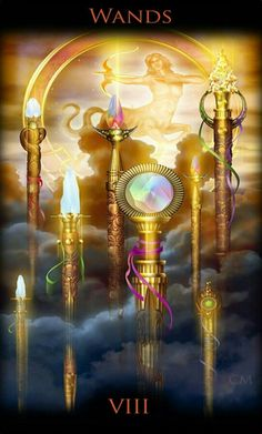 Legacy of the Divine Tarot / Gateway to the Divine Tarot by Ciro Marchetti - 8 of Wands Wicca, Magick, Pagan, Eight Of Wands, Rod And Staff, Divine Tarot, Le Tarot, Daily Tarot, Tarot Readers