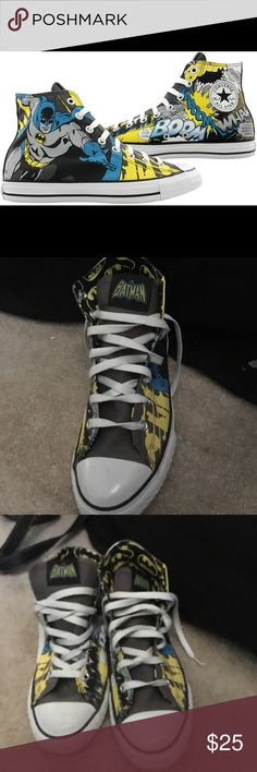 Batman Converse Really cool Batman converse shoes. Never worn. Great condition. Converse Shoes Sneakers