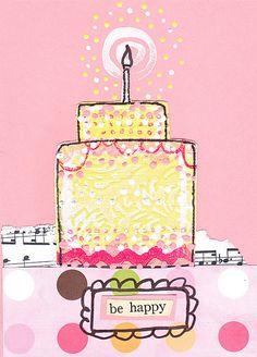 DIY: mixed media birthday card tutorial by Claudine Hellmuth http://claudinehellmuth.blogspot.com/2011/12/happy-birthday-to-me.html #crafts #art