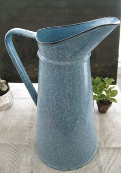 French Blue Speckled 1930s Enamelware Water Pitcher by paprikarose