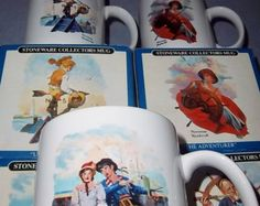 """Vintage Norman Rockwell Long John Silvers Mug Collection Set Of Four 1985 $46.00 