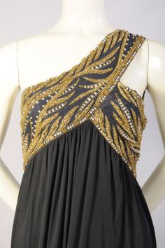 Bob Mackie gold beaded gown.