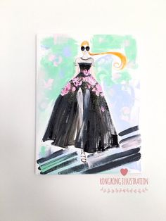 Original Fashion Illustration inspired by Giambattista Valli collection done by Rongrong DeVoe. More original fashion art at www.rongrongillustration.etsy.com