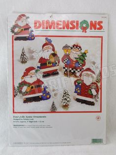Dimensions 4 Four Jolly Santa Ornaments Needlepoint Kit Plastic Canvas 9124  #Dimensions