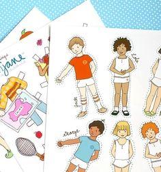 Paper Doll Set PDF Printable ALL SETS by sarahjanestudios