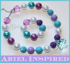 SALE+SALE+Ariel+Inspired+Girls+Chunky+by+GirlyGirlzBoutique12,+$12.50