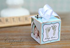 Baby Boy Personalized Photo Block Ornament Gift.