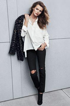 New season, new fashion! | Oversized shirt and distressed pants #HMFall