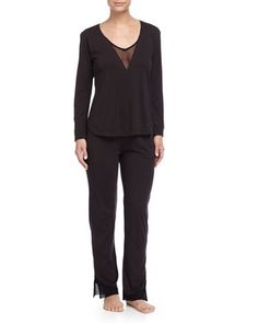 Tulle-Trim+V-Neck+Jersey+Top+&+Lounge+Pants+by+Skin+at+Neiman+Marcus.