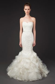 Stunning lace and tulle mermaid wedding dress. Winnie couture, Fall 2014