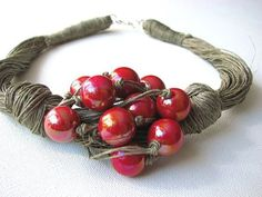 Red Grapes linen necklace by GreyHeartOfStone on Etsy Textile Jewelry, Fabric Jewelry, Boho Jewelry, Beaded Jewelry, Jewelery, Handmade Jewelry, Beaded Bracelets, Unique Jewelry, Necklaces