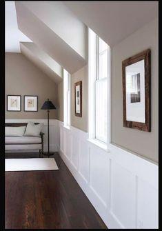 Paint Colour: Benjamin Moore Berkshire Beige / Flat @ DIY Home Design trim, wall color, stairsway Taupe Paint Colors, Hallway Paint Colors, Interior Paint Colors, Room Colors, House Colors, Neutral Paint, Gray Paint, Taupe Color, Living Room Wall Colors