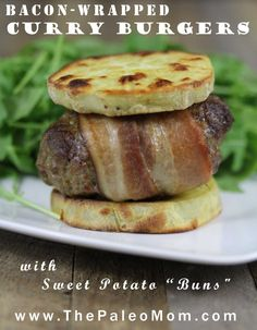 """Bacon-Wrapped Curry Burgers (nightshade-free) with Sweet Potato """"Buns"""" - The Paleo Mom Dairy Free Recipes, Paleo Recipes, Low Carb Recipes, Whole Food Recipes, Cooking Recipes, Paleo Meals, Gluten Free, Paleo Mom, How To Eat Paleo"""