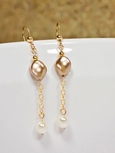 14/20 Gold Filled Earrings Curved Pearl by GSquaredDesigns81
