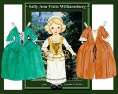 Sally Ann Visits Williamsburg / Lucinda C Durbin, 2002 | bonecas de papel 3.jpg (504×400)