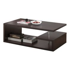 Wood coffee table with three asymmetrical shelves and metal accents. Product: Coffee table  Construction Material: