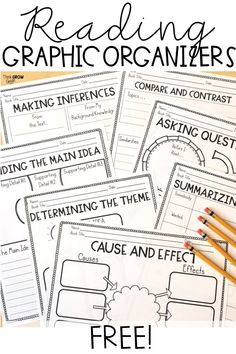 Bring these free graphic organizers into your classroom to offer your students consistent support while they read independently during language arts, social studies, and science lessons. These classroom freebies are perfect for small group instruction in 4th Grade Reading, Guided Reading, Teaching Reading, Title 1 Reading, Second Grade Writing, Curriculum, School Organization, Organization Station, Classroom Freebies