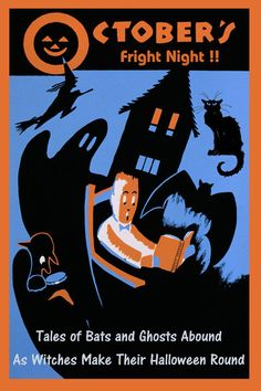 Halloween Flying Witches Bats Ghosts Black Cat Vintage Poster Repro FREE S/H
