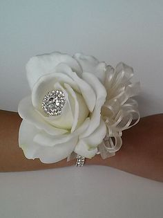 Ready to Ship Real Touch Rose Wrist by BecauseOfLoveFloral on Etsy