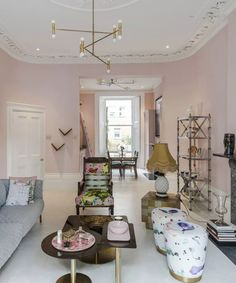 5 interior tips to steal from this pretty-pink London home | Livingetc Pink Houses, Pink Walls, Westminster, Pretty In Pink, London, Interior, Tips, Living Rooms, Furniture