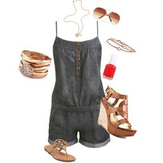 Demin Romper, created by cynthia707 on Polyvore