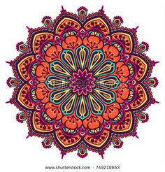 Immagine vettoriale stock 749210653 a tema Flower Mandala Vintage Decorative Elements Oriental (royalty free) Mandala Art, Easy Mandala Drawing, Mandala Doodle, Simple Mandala, Mandala Canvas, Flower Mandala, Mandala Design, Mandala Wallpaper, Pewter Art