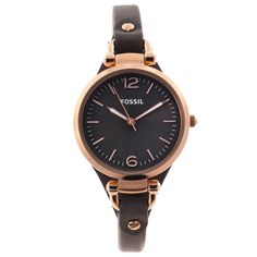 Fossil Women's 'Georgia' Rose-goldtone Leather Strap Watch | Overstock™ Shopping - Big Discounts on Fossil Fossil Women's Watches