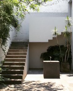 Kurimanzutto gallery courtyard by Alberto Kalach - wall paint mirrors the lines of teh stairs