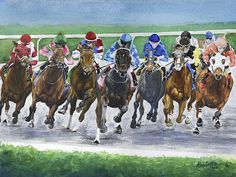 Around The Bend Keeneland horse racing giclee watercolor print