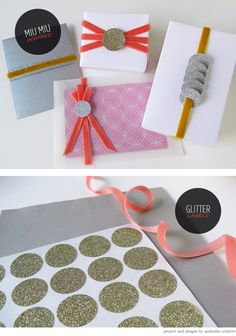 Miu Miu inspired DIY Glitter Gift Wrapping Project via Creature Comforts Paper Packaging, Pretty Packaging, Gift Packaging, Diy Paper, Paper Crafts, Diy Gifts, Handmade Gifts, Envelopes, Gift Wraping