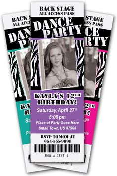DANCE PARTY Birthday Invitation TICKET Style Any Age or Color Girl - You Print - 24 hour turnaround.