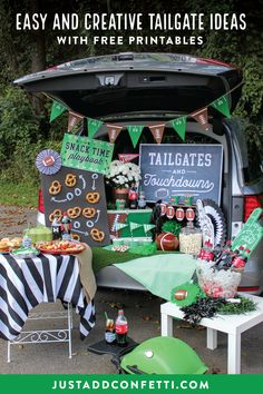 Huddle up! It's time for some fall football fun! Be the MVP of your next tailgate with these ideas, inspiration, free printable designs. #tailgatesandtouchdowns #football #tailgateparty #JustAddConfetti