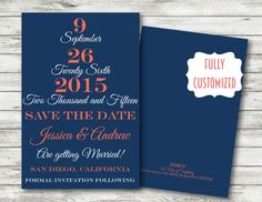 Save the date Invitation wedding coral navy blue customized PRINTABLE DIGITAL modern  rustic country spring summer spring fall  event party